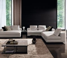 Living Room - Spacious & minimal design with Hamilton sofa and daybed by Italian brand Minotti _