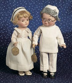 """American Composition 'Nurse' by Alexander~~~Generally excellent. MARKS: Madame Alexander New York (cloth tag on costume). COMMENTS: Alexander, circa 1935, the doll represents the Nurse from the Dionne Quintuplet series. VALUE POINTS: In unplayed-with condition, the doll wears original cotton nursing uniform and cap, undergarments, shoes, socks, and has gold paper wrist label and original Alexander box stamped """"Nurse""""."""
