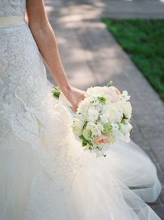 Spring wedding bouquet idea - lush white + pink bouquet with roses, peonies and greenery {b. flint photography}