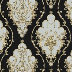 Black Gold Bedroom Luxury Heavy Texture Victorian Damask Wallpaper Black/Gold/Brown/Silver for Home Gold And Silver Wallpaper, Gold Damask Wallpaper, Victorian Wallpaper, Salon Wallpaper, Wallpaper Schwarz, Victorian Pattern, Gold Rooms, Black Gold Jewelry, Pattern Wallpaper