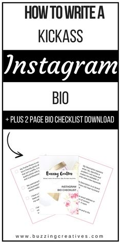 What you should write in your Instagram Bio plus 2 page free download instagram bio checklist