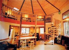 creative use of space. the loft area would be our office, the space beneath a kitchen with a dining bar opening out to the living room Yurt Loft, Yurt Interior, Yurt Living, Living Room, Tiny Living, Round House Plans, Silo House, Farm House, Dome House