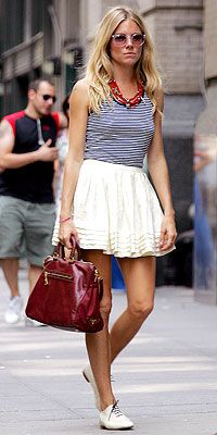 Sienna Miller in Oxford flats (short skirt, no hosiery)