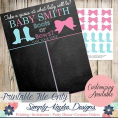 Boots or Bows Gender reveal party game by SimplyKayleeDesigns