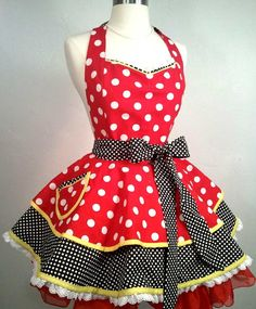 Minnie Mouse inspired Pin Up Apron, Costume