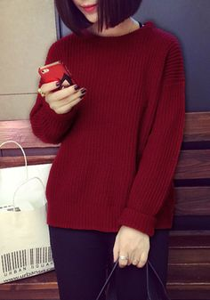 Port Knitted Pullover Sweater - Long Sleeves Knit Sweater