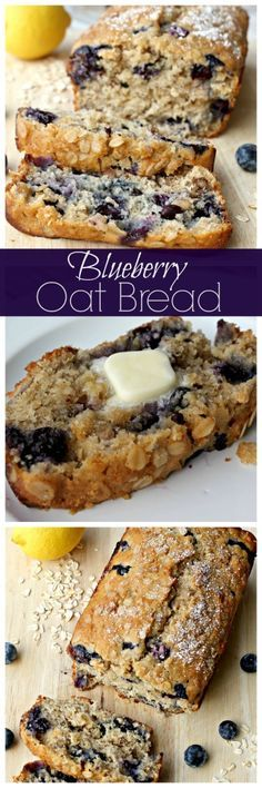Easy homemade lemon blueberry bread with oats and walnuts. Absolutely heaven for breakfast warm with butter. #baking #breakfast #berrynoats Ad.