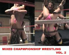 Vanessa Harding vs Chance in mixed wrestling action.