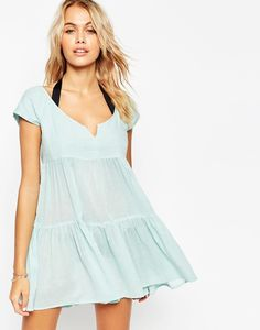 Model wear Blue Tiered Smock Beach Dress for lookbook photoshoot