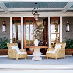 coffered ceiling on porch