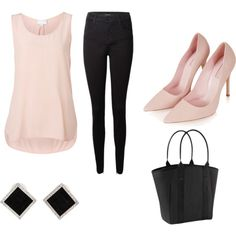 Pink & Black by sharnapelling on Polyvore featuring Witchery, J Brand, Topshop, Athleta and Yvel