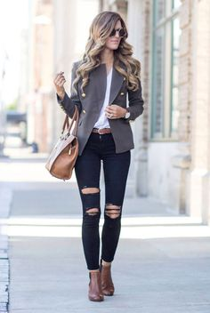 spring outfit, fall outfit, casual outfit, fall trends 2016, night out outfit - brown military blazer, brown double breasted blazer, white shirt, brown belt, black distressed skinny jeans, brown booties, brown handbag, brown round sunglasses
