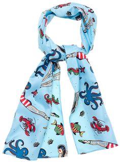 SOURPUSS TATTOOED DIVERS BAD GIRL SCARF $10.00 #sourpuss #sourpussclothing #scarf #hairscarf #vintage #vintagetattoo
