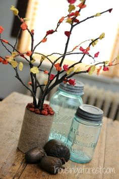 Fall Centerpiece Craft for Kids using paper pulp