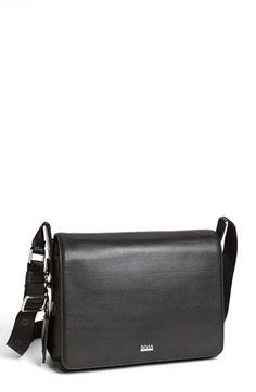 BOSS HUGO BOSS 'Barter' Leather Messenger Bag available at #Nordstrom