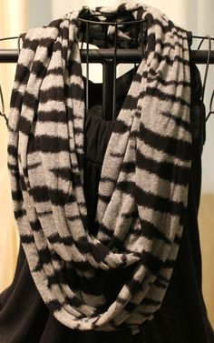 Gray and Black infinity scarf  zebra Infinity by ScarfLadyDesigns, $48.00