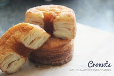 Puff Pastry Mini Cronuts with Cinnamon Sugar Coating