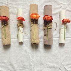 fresh flowers and burlap napkins