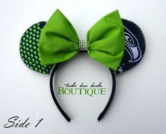 Seattle Seahawk Mickey Ears Reversible by TashaBowBasha on Etsy