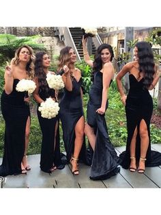 Long bridesmaid dress, black bridesmaid dress, side split bridesmaid dress…