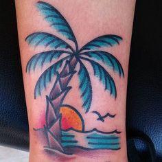 35 Trendy Basket Ball Tattoos Old School Sunset Tattoos, Palm Tattoos, Body Art Tattoos, Sleeve Tattoos, Cool Tattoos, Tatoos, Tree Tattoos, House Of Ink, Tropical Tattoo