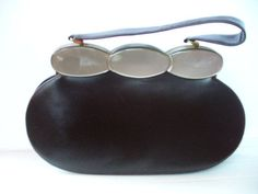 Fabulous Vintage 1950 s Schiaparelli leather handbag/purse with Lucite framework