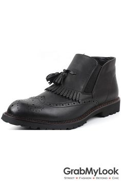 GrabMyLook Vintage Black Leather Mens Tassles Ankle Boots Shoes