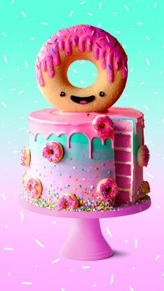 Donut Cake How adorable is this GIANT donut kawaii cake? - Donut Cake How adorable is this GIANT donut kawaii cake? Donut Cake How ador - Donut Party, Donut Birthday Parties, Donut Birthday Cakes, Giant Birthday Cake, Donut Cakes, Birthday Ideas, Rainbow Birthday, Birthday Nails, 10th Birthday