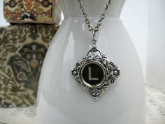 Typewriter Key Jewelry  Necklace  Letter Initial L by IvieRidge, $20.50