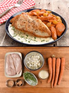 Roasted Chicken with Sweet Miso-Glazed Carrots and Tarragon Cream