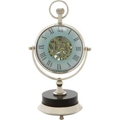 Exquisite Brass Nickel Table Clock ($120) ❤ liked on Polyvore featuring home, home decor, clocks, black, brass table clock, brass clock, brass mantel clock, brass mantle clock and dial clock