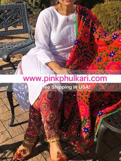 Shop online handmade, vintage, and one-of-a-kind traditional phulkari products at Pink Phulkari. Pakistani Fashion Casual, Pakistani Dresses Casual, Pakistani Wedding Outfits, Pakistani Dress Design, Pakistani Frocks, Indian Fashion, Kurta Designs Women, Kurti Neck Designs, Kurti Designs Party Wear