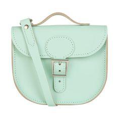 Brit-Stitch Leather Half Pint Shoulder Bag - Grayed Jade (Strap On... ($110) ❤ liked on Polyvore