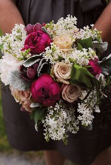 Bouquets of peonies, roses, and lamb's ear. Flowers by Hana Floral Design.