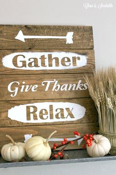 Easy DIY rustic wood sign. Love this - perfect for Thanksgiving decor!