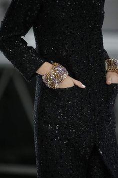 #chanel #black #sparkle #cuffs #bracelets #pockets #dress #readytowear #rtw #parisfashionwek #pfw