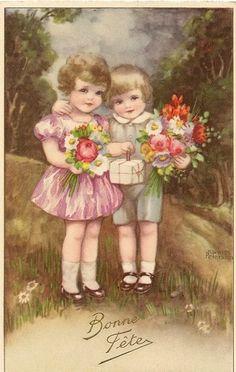 Carte Postale Fantaisie Bonne Fete Illustrateur Hannes Petersen Enfants | eBay