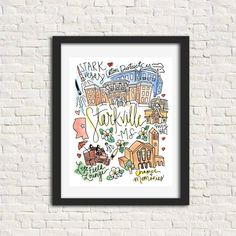 Oxford, Mississippi MS City Illustration Wall Art Print Gift // Ole Miss University of Mississippi Rebels Square Books Football Starkville Mississippi, Oxford Mississippi, Jackson Mississippi, Watercolor City, Watercolor And Ink, Wall Paper Phone, Wall Drawing, City Illustration, Tonne