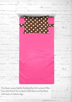 Girls 4 pc Toddler Bedding/3 pc Sheet Set 100% Cotton Percale, Butterflies Ladybugs, Pink/Fuchsia/Chocolate - 3 pc Toddler Sheet Set