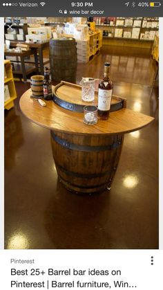 Traveling tasting bar, if it's not too heavy! KegWorks Barrel Bar - Handcrafted Home Bar Decor - perfect for in front of the keezer or in the mancave -- space saving with charm Barrel Bar, Barrel Table, Keg Table, Wine Barrel Furniture, Rustic Furniture, Modern Furniture, Furniture Design, Barris, Barrel Projects