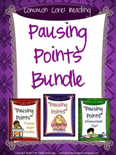 Interested in a combination of my 3 Pausing Points resources at a reduced price? Here you go! This set includes all 14 prompts from each of the three sets (Character Studies, Theme and Event Studies, and Informational Text Studies)--in two different formats. All suggestions for use are included as well.