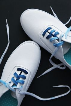 Instead of tie-dying the shoes, dye the laces with Tulip's fabric dye!