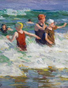 Edward Henry Potthast (1857–1927), Surf Bathing, ca. 1924, oil on board, 12 x 15 7/8 in. (30.5 x 40.3 cm),