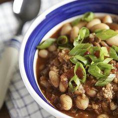 White Bean Chili, White Bean Soup, No Bean Chili, White Beans, Pork Chili Recipe, Chili Recipes, Soup Recipes, Healthy Recipes, Dinner Recipes