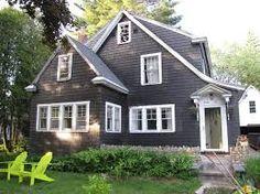 charcoal house, white trim