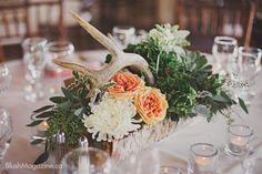 Rustic Wedding at The Hanger in Fort Edmonton. Rustic Wedding, Rustic Centerpiece, Centerpiece, Antler Centerpiece, Rustic Flowers