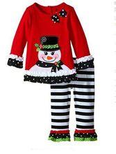 2016 new Christmas dress vestidos de menina vestir childrens suit kids clothes sets baby girls dress+striped leggings New Year(China (Mainland))