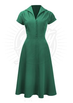 40s Style Hostess Day Dress in Emerald Green