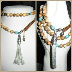 Tasseled Jasper Gemstone Bracelet/Necklace #eyegotchacovered #fashiontrend #jasper #prayerbeads