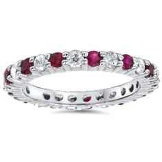 1 1/2ct Ruby & Diamond Eternity Ring 14K White Gold    eBay